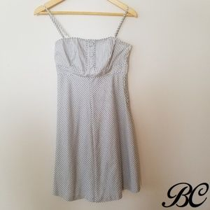 Gap Dress Blue White Cotton Strapless Cute Lined